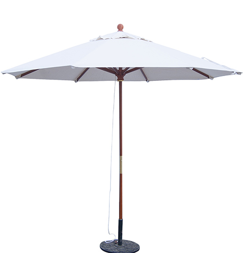 9' Wooden Market Umbrella W/Fiberglass Wood Rib