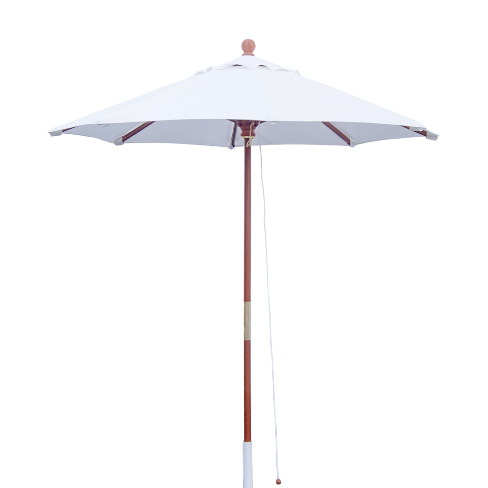 7' Wooden Market Umbrella W/Fiberglass Wood Ribs